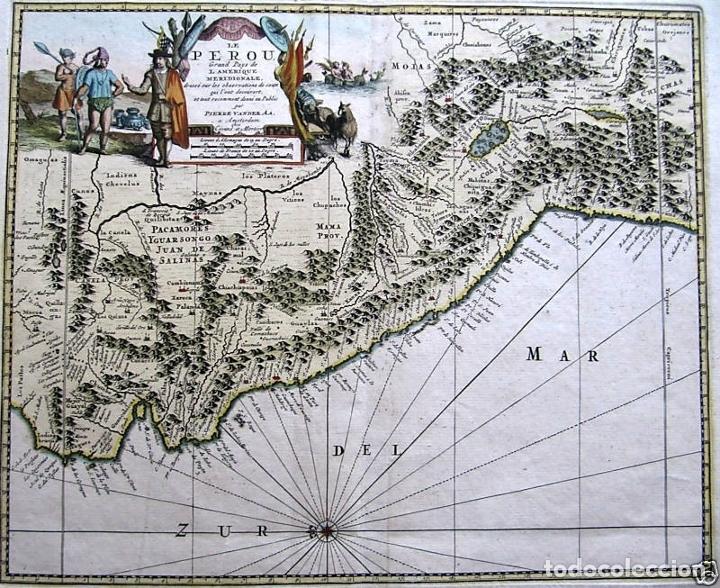 Arte: Mapa del litoral de Ecuador, Perú y Chile (América del sur), 1720. P. van der Aa/Covens y Mortier - Foto 2 - 174626279
