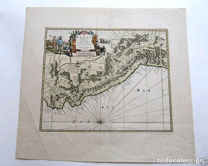 Arte: Mapa del litoral de Ecuador, Perú y Chile (América del sur), 1720. P. van der Aa/Covens y Mortier - Foto 3 - 174626279