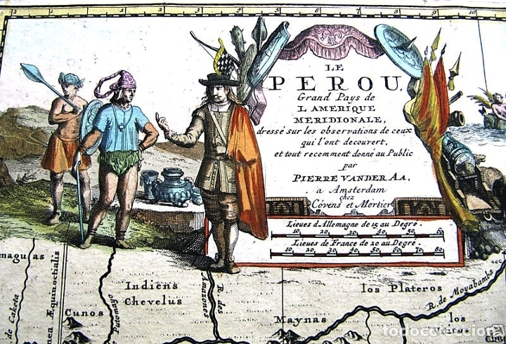 Arte: Mapa del litoral de Ecuador, Perú y Chile (América del sur), 1720. P. van der Aa/Covens y Mortier - Foto 4 - 174626279