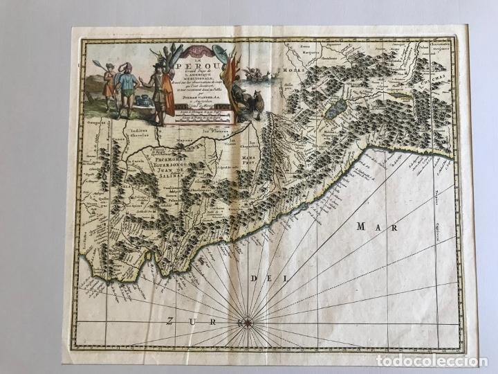 Arte: Mapa del litoral de Ecuador, Perú y Chile (América del sur), 1720. P. van der Aa/Covens y Mortier - Foto 7 - 174626279