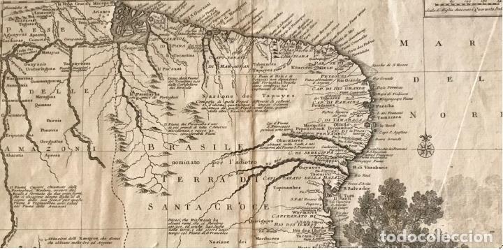 Arte: Gran mapa de Brasil, 1740. Delisle/Albrizzi - Foto 2 - 174668582