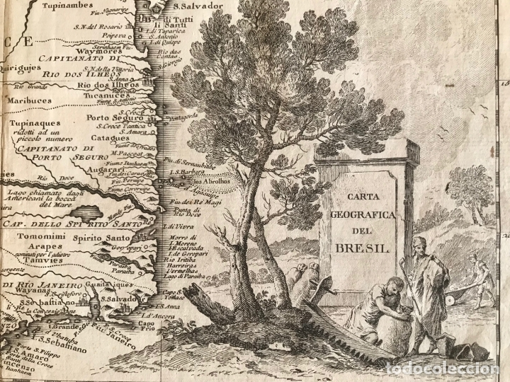 Arte: Gran mapa de Brasil, 1740. Delisle/Albrizzi - Foto 5 - 174668582