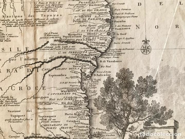 Arte: Gran mapa de Brasil, 1740. Delisle/Albrizzi - Foto 9 - 174668582