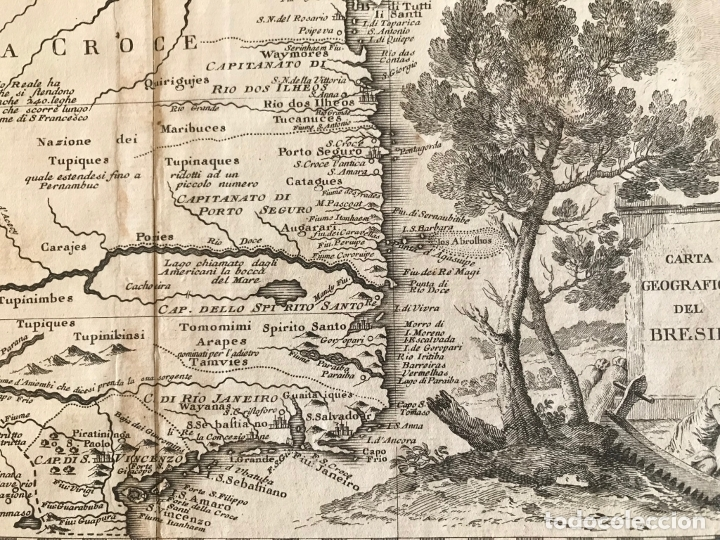 Arte: Gran mapa de Brasil, 1740. Delisle/Albrizzi - Foto 10 - 174668582
