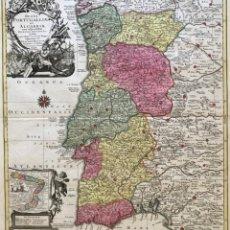 Arte: GRAN MAPA DE PORTUGAL, BRASIL Y OCCIDENTE DE ESPAÑA, 1762. LOTTER/SEUTTER. Lote 175255094