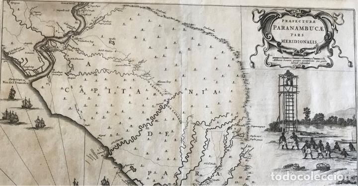 Arte: Gran mapa del noreste del Brasil holandés ( Alagoas, Brasil), 1647. Baerleus/Blaeu - Foto 3 - 175319315
