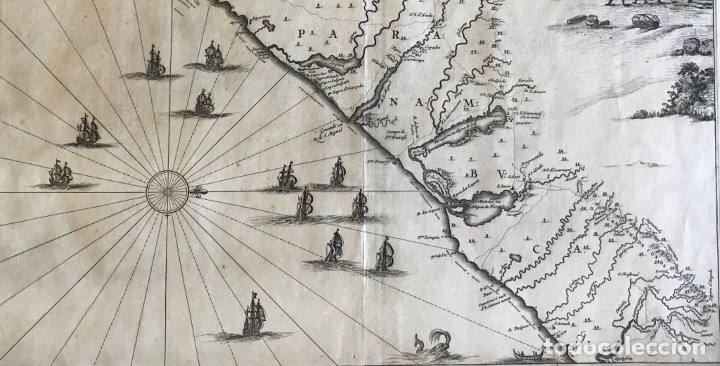 Arte: Gran mapa del noreste del Brasil holandés ( Alagoas, Brasil), 1647. Baerleus/Blaeu - Foto 4 - 175319315
