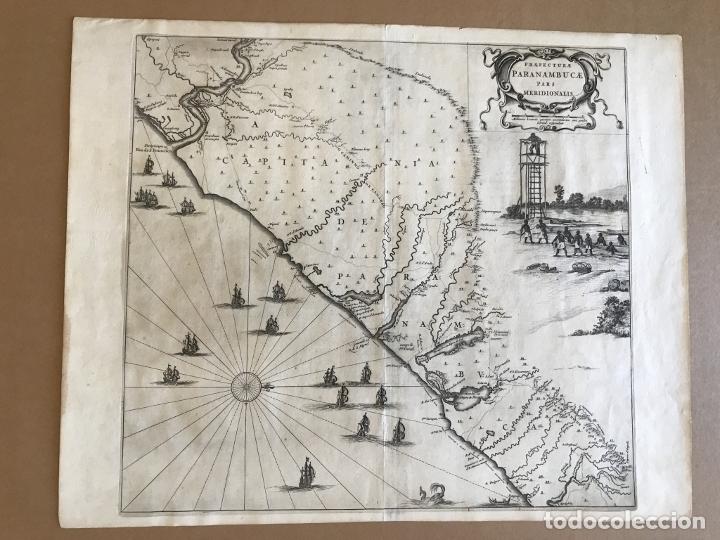 Arte: Gran mapa del noreste del Brasil holandés ( Alagoas, Brasil), 1647. Baerleus/Blaeu - Foto 5 - 175319315
