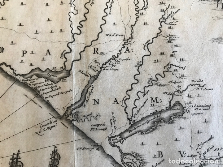 Arte: Gran mapa del noreste del Brasil holandés ( Alagoas, Brasil), 1647. Baerleus/Blaeu - Foto 10 - 175319315