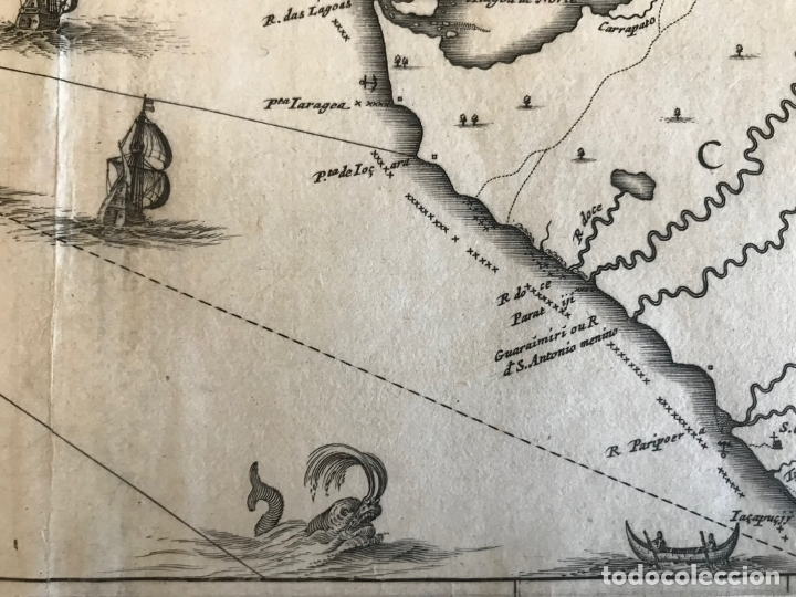 Arte: Gran mapa del noreste del Brasil holandés ( Alagoas, Brasil), 1647. Baerleus/Blaeu - Foto 12 - 175319315
