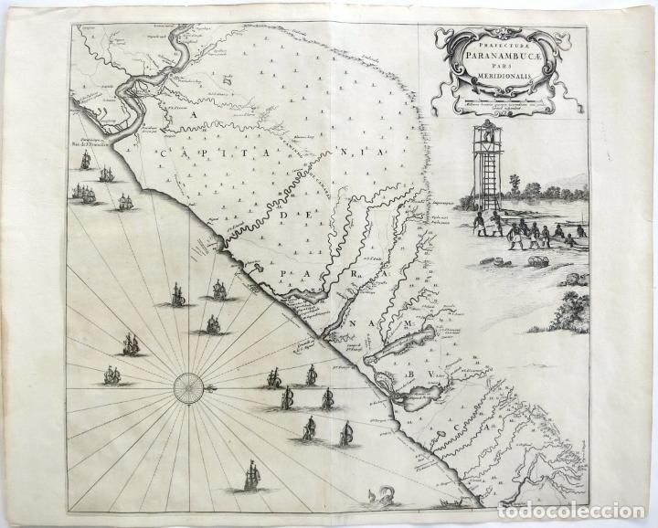 GRAN MAPA DEL NORESTE DEL BRASIL HOLANDÉS ( ALAGOAS, BRASIL), 1647. BAERLEUS/BLAEU (Arte - Cartografía Antigua (hasta S. XIX))