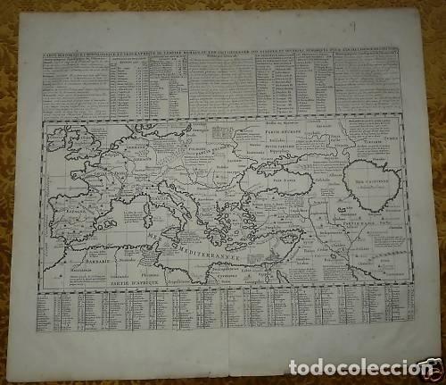 Arte: Gran mapa del imperio romano y del Mar Mediterráneo, 1719. Chatelain/Guedeville - Foto 2 - 175587442