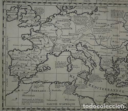 Arte: Gran mapa del imperio romano y del Mar Mediterráneo, 1719. Chatelain/Guedeville - Foto 3 - 175587442