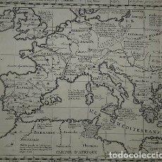 Arte: GRAN MAPA DEL IMPERIO ROMANO Y DEL MAR MEDITERRÁNEO, 1719. CHATELAIN/GUEDEVILLE. Lote 175587442