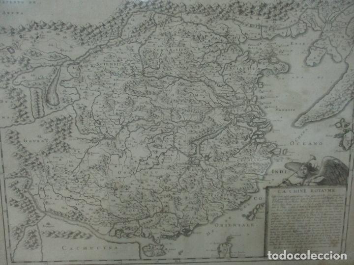"""Arte: """"La Chine royaume"""", Mapa de China y de Corea del siglo XVII. Impreso en París en 1656 Nicolas Sanson - Foto 3 - 175797640"""
