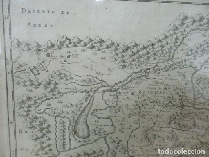 """Arte: """"La Chine royaume"""", Mapa de China y de Corea del siglo XVII. Impreso en París en 1656 Nicolas Sanson - Foto 4 - 175797640"""
