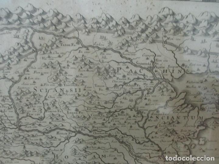 """Arte: """"La Chine royaume"""", Mapa de China y de Corea del siglo XVII. Impreso en París en 1656 Nicolas Sanson - Foto 5 - 175797640"""