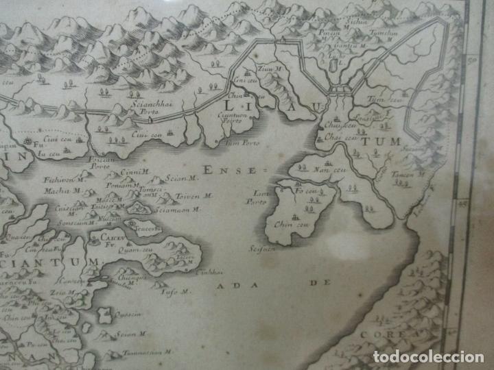 """Arte: """"La Chine royaume"""", Mapa de China y de Corea del siglo XVII. Impreso en París en 1656 Nicolas Sanson - Foto 6 - 175797640"""