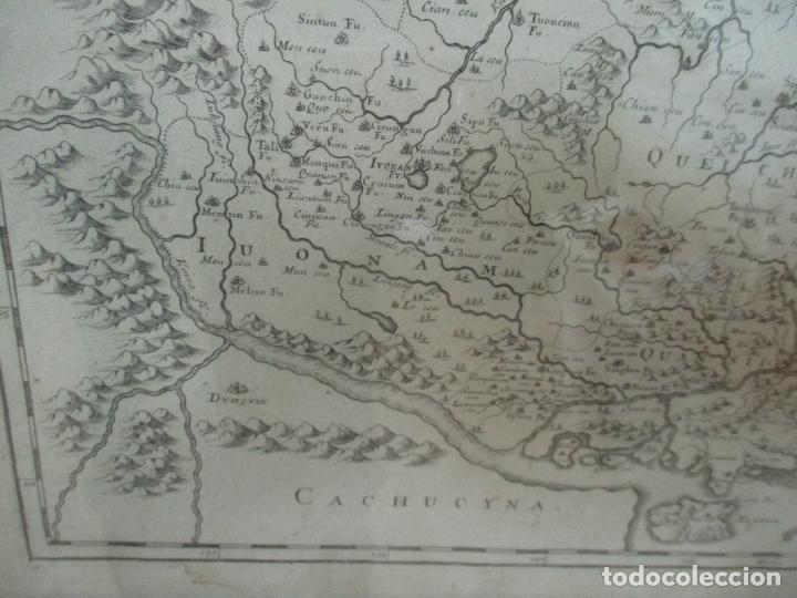 """Arte: """"La Chine royaume"""", Mapa de China y de Corea del siglo XVII. Impreso en París en 1656 Nicolas Sanson - Foto 12 - 175797640"""