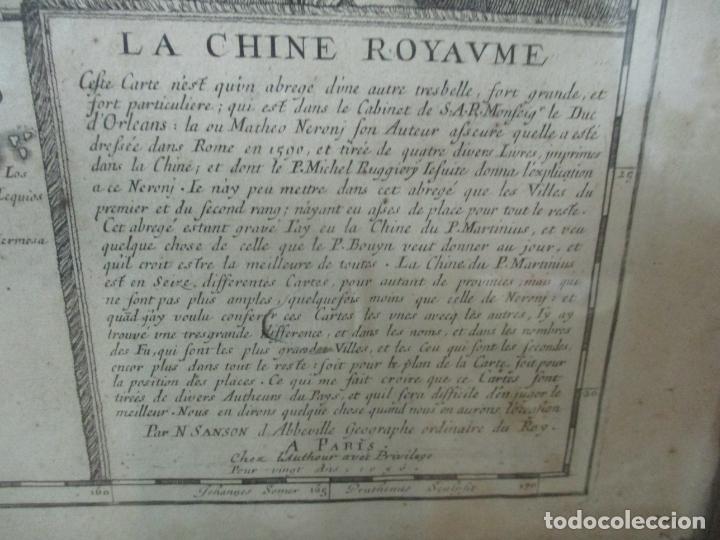 """Arte: """"La Chine royaume"""", Mapa de China y de Corea del siglo XVII. Impreso en París en 1656 Nicolas Sanson - Foto 15 - 175797640"""