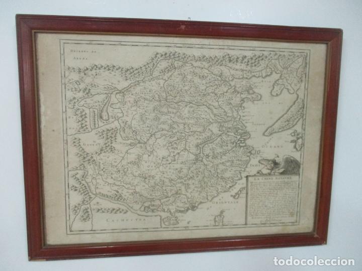 """""""LA CHINE ROYAUME"""", MAPA DE CHINA Y DE COREA DEL SIGLO XVII. IMPRESO EN PARÍS EN 1656 NICOLAS SANSON (Arte - Cartografía Antigua (hasta S. XIX))"""
