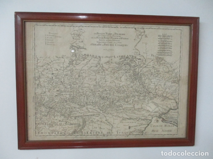 """""""LA RUSSIE NOIRE OU POLONAISE: D'UKRAINE OU PAYS DE COSAQUES"""" - SANSONS, PARÍS 1674 (Arte - Cartografía Antigua (hasta S. XIX))"""