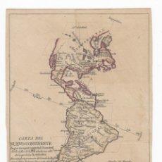 Arte: CARTA DEL NUEVO CONTINENTE.AÑO 1782.TAMAÑO. 22 X 18 CTMS.ORIGINAL.. Lote 176017003