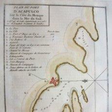 Arte: MAPA DE LA BAHIA Y PUERTO DE ACAPULCO (MÉXICO, AMÉRICA DEL NORTE)), 1754. BELLIN/PREVOST. Lote 176376052