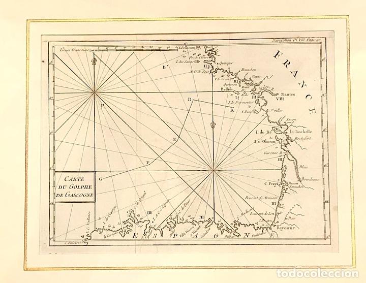 MAPA CARTE DU GOLPHE DE GASCOGNE. FRANCE. SIGLO XVIII (Arte - Cartografía Antigua (hasta S. XIX))