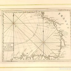Arte: MAPA CARTE DU GOLPHE DE GASCOGNE. FRANCE. SIGLO XVIII. Lote 176753243