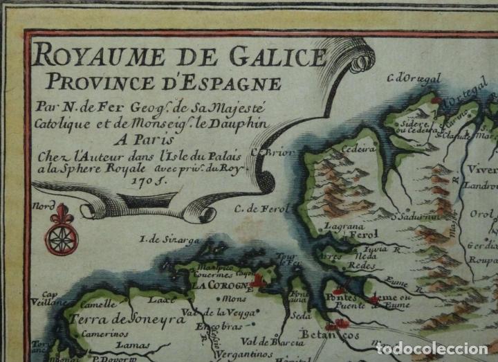 Arte: Mapa de Galicia y puertos de Vigo y A Coruña (España), 1705. Nicolás de Fer - Foto 3 - 176815883