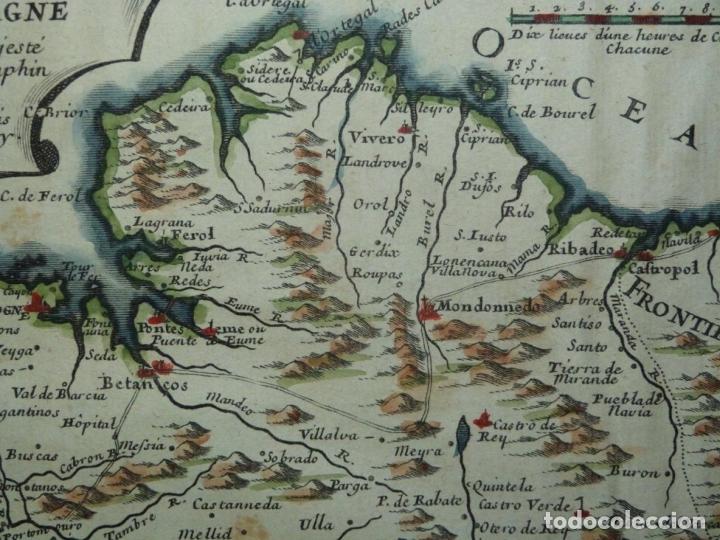 Arte: Mapa de Galicia y puertos de Vigo y A Coruña (España), 1705. Nicolás de Fer - Foto 4 - 176815883