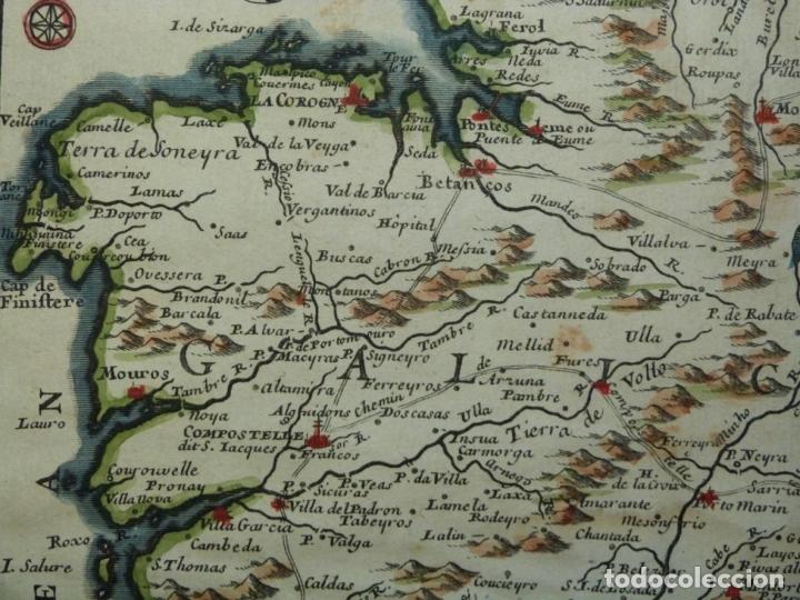 Arte: Mapa de Galicia y puertos de Vigo y A Coruña (España), 1705. Nicolás de Fer - Foto 5 - 176815883