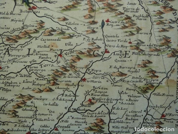 Arte: Mapa de Galicia y puertos de Vigo y A Coruña (España), 1705. Nicolás de Fer - Foto 6 - 176815883