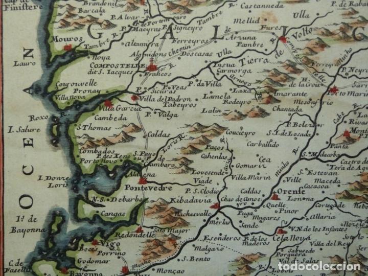 Arte: Mapa de Galicia y puertos de Vigo y A Coruña (España), 1705. Nicolás de Fer - Foto 7 - 176815883