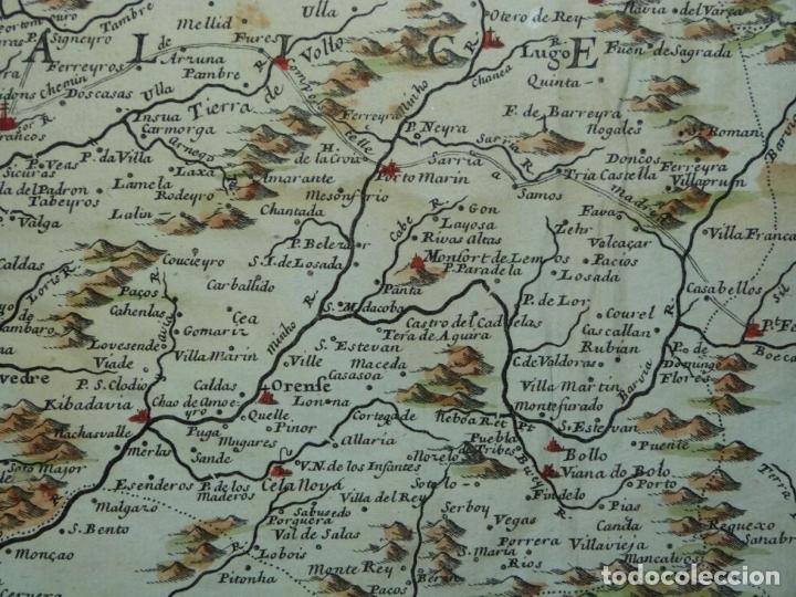 Arte: Mapa de Galicia y puertos de Vigo y A Coruña (España), 1705. Nicolás de Fer - Foto 8 - 176815883