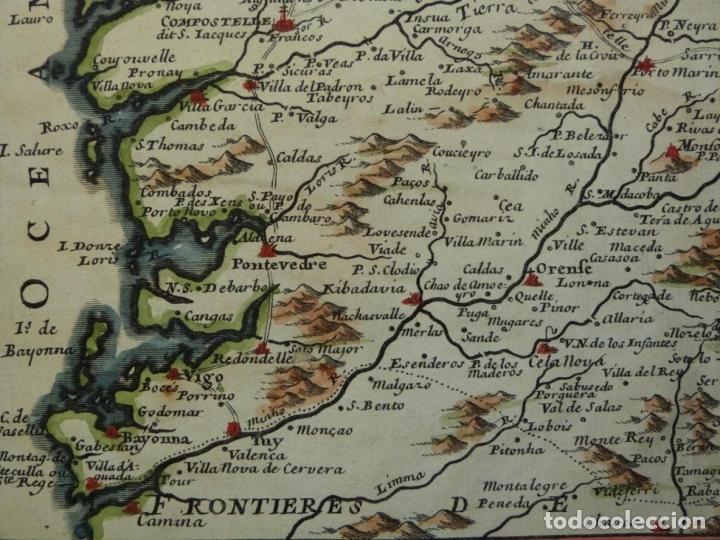 Arte: Mapa de Galicia y puertos de Vigo y A Coruña (España), 1705. Nicolás de Fer - Foto 9 - 176815883
