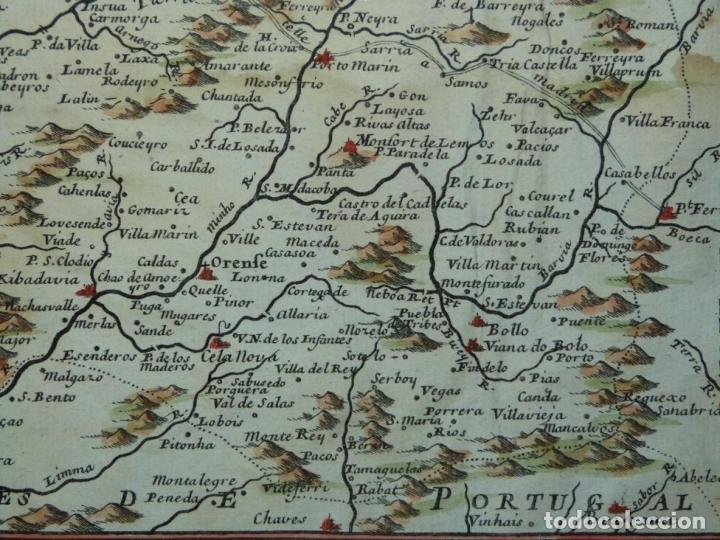 Arte: Mapa de Galicia y puertos de Vigo y A Coruña (España), 1705. Nicolás de Fer - Foto 10 - 176815883