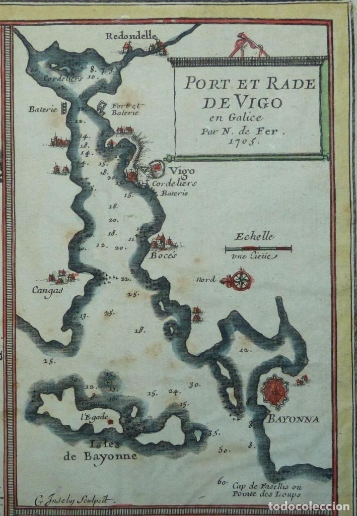 Arte: Mapa de Galicia y puertos de Vigo y A Coruña (España), 1705. Nicolás de Fer - Foto 11 - 176815883