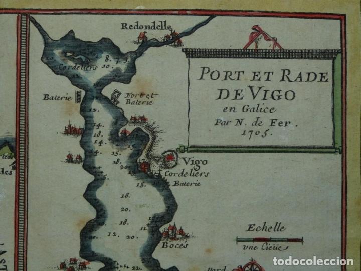Arte: Mapa de Galicia y puertos de Vigo y A Coruña (España), 1705. Nicolás de Fer - Foto 12 - 176815883
