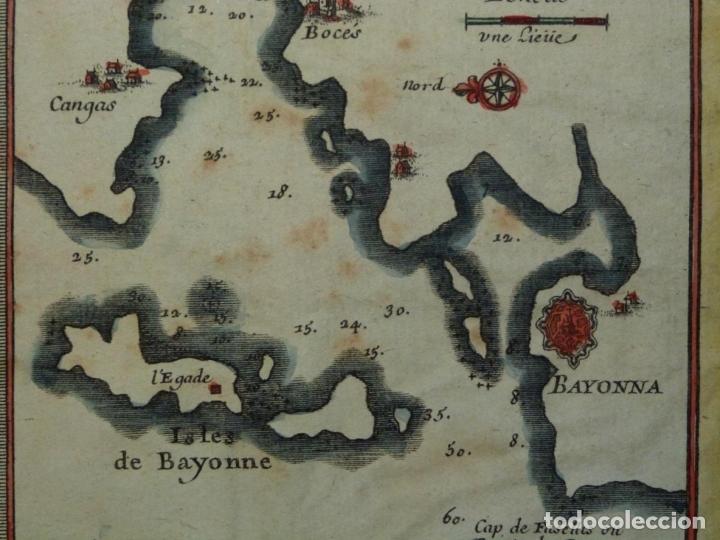 Arte: Mapa de Galicia y puertos de Vigo y A Coruña (España), 1705. Nicolás de Fer - Foto 13 - 176815883