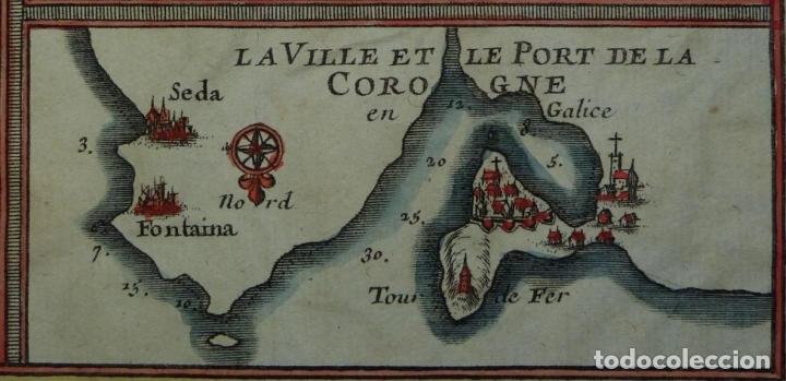 Arte: Mapa de Galicia y puertos de Vigo y A Coruña (España), 1705. Nicolás de Fer - Foto 14 - 176815883