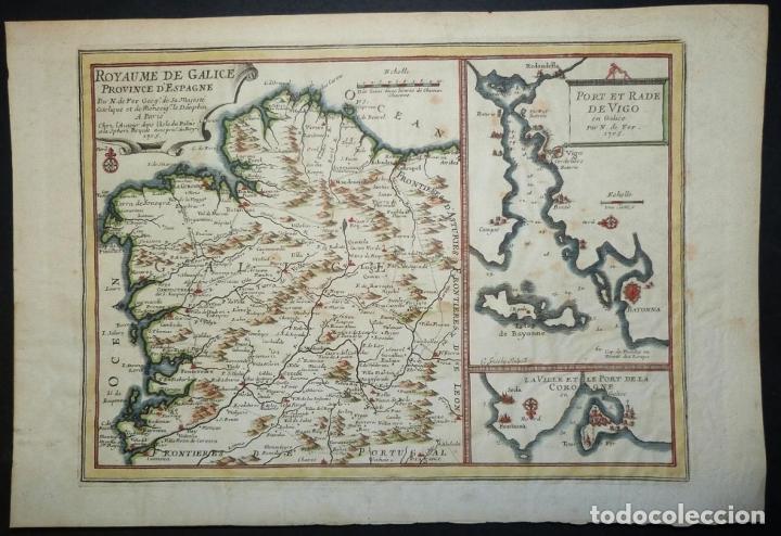 MAPA DE GALICIA Y PUERTOS DE VIGO Y A CORUÑA (ESPAÑA), 1705. NICOLÁS DE FER (Arte - Cartografía Antigua (hasta S. XIX))