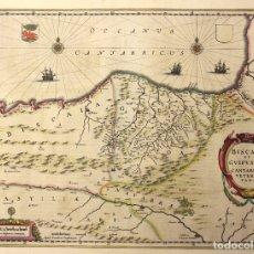 Arte: MAPA BISCAIA ET GUIPUSCOA CANTABRIAE VETERIS PARS. MAPA BIZKAIA Y GIPUZKOA. 1647. Lote 177795432