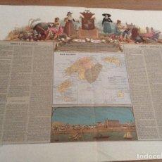 Arte: MAPA ANTIGUO ORIGINAL ISLAS BALEARES MALLORCA IBIZA MENORCA , BORONAT CROMOLITOGRAFIA. Lote 177876202