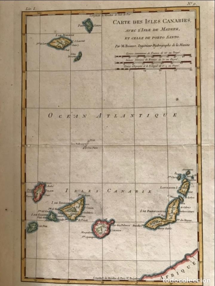 Arte: Mapa de las Islas Canarias (España), A Madeira e Porto Santo (Portugal), 1780. R. Bonne - Foto 2 - 178056985