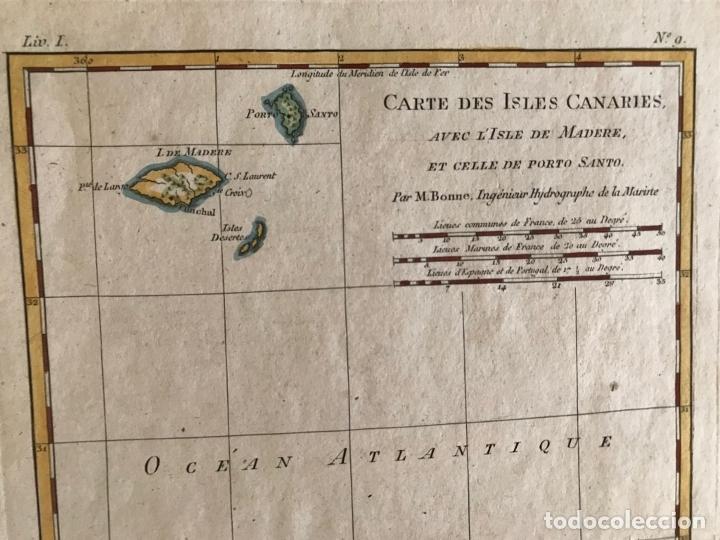 Arte: Mapa de las Islas Canarias (España), A Madeira e Porto Santo (Portugal), 1780. R. Bonne - Foto 3 - 178056985