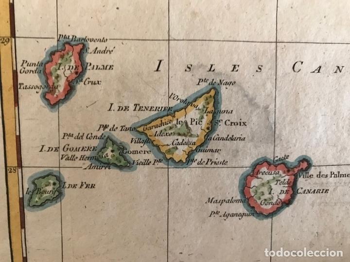 Arte: Mapa de las Islas Canarias (España), A Madeira e Porto Santo (Portugal), 1780. R. Bonne - Foto 5 - 178056985