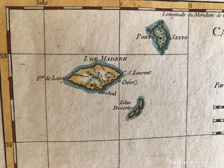 Arte: Mapa de las Islas Canarias (España), A Madeira e Porto Santo (Portugal), 1780. R. Bonne - Foto 7 - 178056985