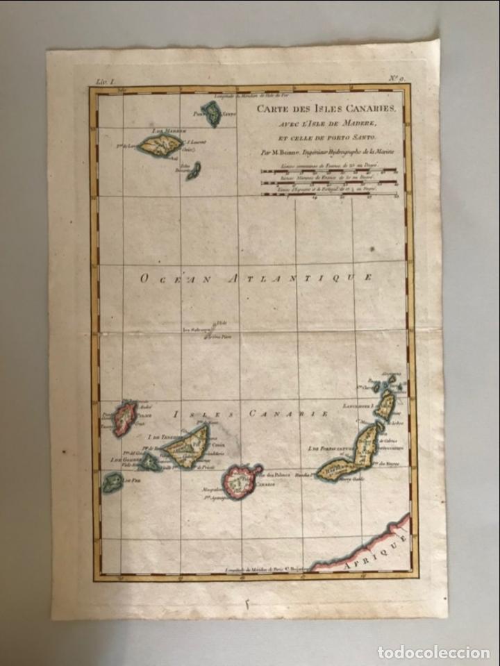 MAPA DE LAS ISLAS CANARIAS (ESPAÑA), A MADEIRA E PORTO SANTO (PORTUGAL), 1780. R. BONNE (Arte - Cartografía Antigua (hasta S. XIX))